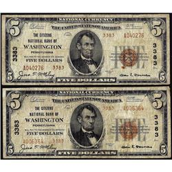Lot of 1929 Type 2 $5 Citizens NB of Washington, PA CH# 3383 National Currency Notes