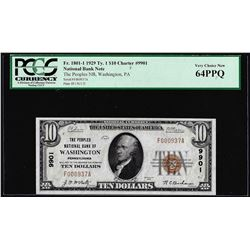 1929 $10 NB of Washington, PA CH# 9901 National Currency Note PCGS Choice New 64PPQ