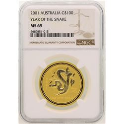 2001 $100 Australia Year of the Snake Gold Coin NGC MS69
