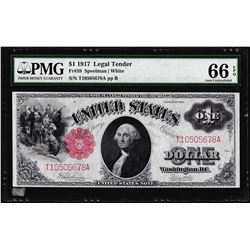 1917 $1 Legal Tender Note Fr.39 PMG Gem Uncirculated 66PPQ