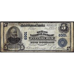 1902PB $5 Mellon National Bank of Pittsburgh, PA CH# 6301 National Currency Note