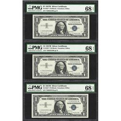 (3) Consecutive 1957B $1 Silver Certificate STAR Notes PMG Superb Gem Unc. 68PPQ
