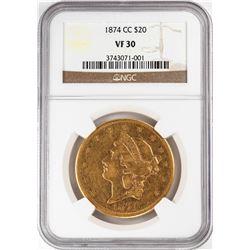 1874-CC $20 Liberty Head Double Eagle Gold Coin NGC VF30