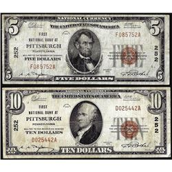 Lot of 1929 $5/$10 National Bank at Pittsburgh, PA CH# 252 National Currency Notes