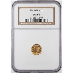 1854 Type 1 $1 Liberty Head Gold Dollar Coin NGC MS61