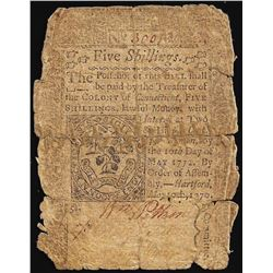 May 10, 1770 Five Shillings Connecticut Colonial Currency Note