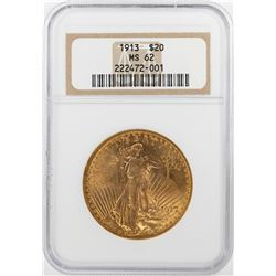 1913 $20 St. Gaudens Double Eagle Gold Coin NGC MS62
