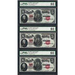 (3) Consecutive 1907 $5 Woodchopper Legal Tender Note PMG Choice Uncirculated 64EPQ
