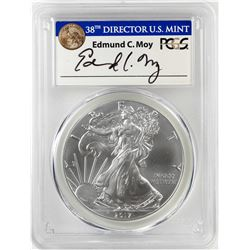 2017 $1 American Silver Eagle Coin PCGS MS70 First Day of Issue Moy Signature