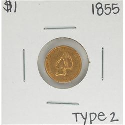 1855 Type 2 $1 Indian Princess Head Gold Dollar Coin