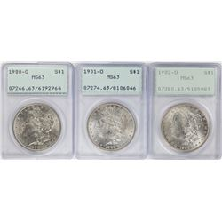 Lot of 1900-O to 1902-O  $1 Morgan Silver Dollar Coins PCGS MS63 Old Green Rattler