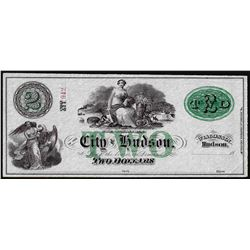 1800's $2 City of Hudson, Wisconsin Obsolete Note