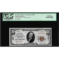 1929 $10 NB of Washington, PA CH# 9901 National Currency Note PCGS Choice New 63PPQ