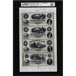 Uncut Sheet of 1860's Continental Bank Boston Obsolete Notes PMG Ch. Extremely Fine 45