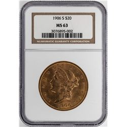 1906-S $20 Liberty Head Double Eagle Gold Coin NGC MS63