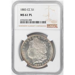 1883-CC $1 Morgan Silver Dollar Coin NGC MS61 PL