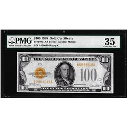 1928 $100 Gold Certificate Note Fr.2405 PMG Choice Very Fine 35