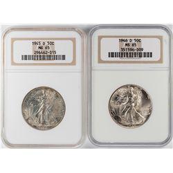 Lot of 1945-D to 1946-D Walking Liberty Half Dollar Coins NGC MS65