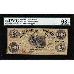 1861 $100 State of Florida Tallahassee Cr.2 Obsolete Note PMG Ch. Uncirculated 63EPQ