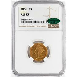 1856 $3 Indian Princess Head Gold Coin NGC AU55 CAC