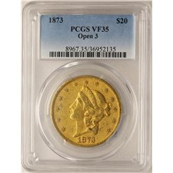 1873 Open 3 $20 Liberty Head Double Eagle Gold Coin PCGS VF35