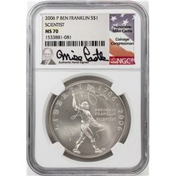 2006-P $1 Ben Franklin Scientist Silver Dollar Coin NGC MS70 Mike Castle Signature