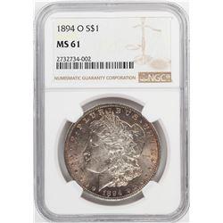 1894-O $1 Morgan Silver Dollar Coin NGC MS61 Nice Toning