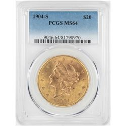1904-S $20 Liberty Head Double Eagle Gold Coin PCGS MS64