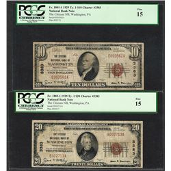 1929 $10/20 Citizens NB Washington, PA CH# 3383 National Currency Notes PCGS F15