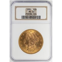 1895 $20 Liberty Head Double Eagle Gold Coin NGC MS63