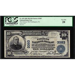 1902PB $10 Citizens of NB of Washington, PA CH# 3383 National Currency Note PCGS VF20