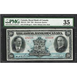 1927 $20 Montreal Royal Bank of Canada Note PMG Choice Very Fine 35