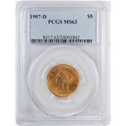 1907-D $5 Liberty Head Half Eagle Gold Coin PCGS MS63