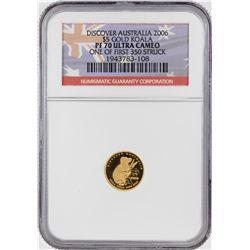 2006 $5 Australia Proof Koala Gold Coin NGC PF70 Ultra Cameo