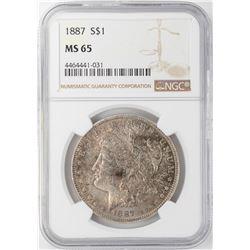 1887 $1 Morgan Silver Dollar NGC MS65 Nice Toning