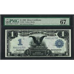1899 $1 Black Eagle Silver Certificate Note Fr.233 PMG Superb Gem Unc. 67EPQ