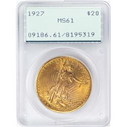 1927 $20 St. Gaudens Double Eagle Gold Coin PCGS MS61 Green Rattler Holder
