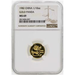 1982 China 1/10 oz. Gold Panda Coin NGC MS69
