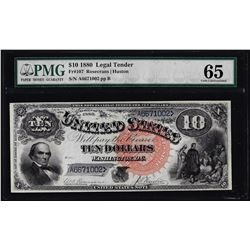 1880 $10 Jackass Legal Tender Note Fr.107 PMG Gem Uncirculated 65