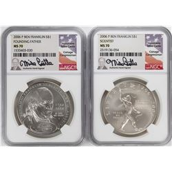 Lot of (2) 2006-P $1 Ben Franklin Silver Dollar Coins NGC MS70 Mike Castle Signature