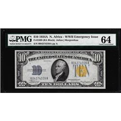 1934A $10 North Africa WWII Emergency Silver Certificate Note PMG Ch. Uncirculated 64