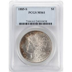 1885-S $1 Morgan Silver Dollar Coin PCGS MS61