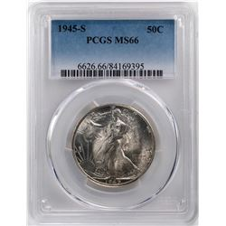 1945-S Walking Liberty Half Dollar Coin PCGS MS66