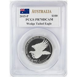 2015-P $100 Australian Wedge Tailed Eagle Platinum Coin PCGS PR70DCAM
