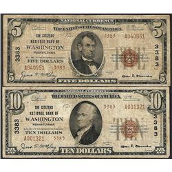 Lot of 1929 Ty. 2 $5/10 Citizens NB of Washington, PA CH# 3383 National Currency Notes