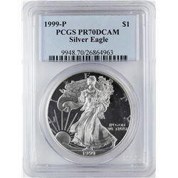 1999-P $1 Proof American Silver Eagle Coin PCGS PR70DCAM