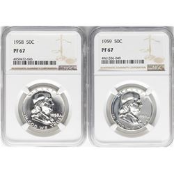 Lot of 1958 & 1959 Proof Franklin Half Dollar Coins NGC PF67