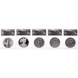 2011 $1 American Silver Eagle 25th Anniversary (5) Coin Set ANACS MS70/PR70