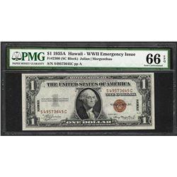 1935A $1 Hawaii Silver Certificate WWII Emergency Note PMG Gem Uncirculated 66EPQ
