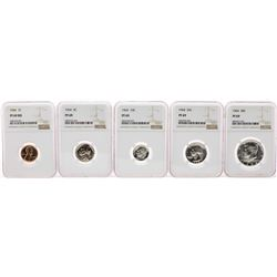 1964 (5) Coin Proof Set Graded NGC PF69